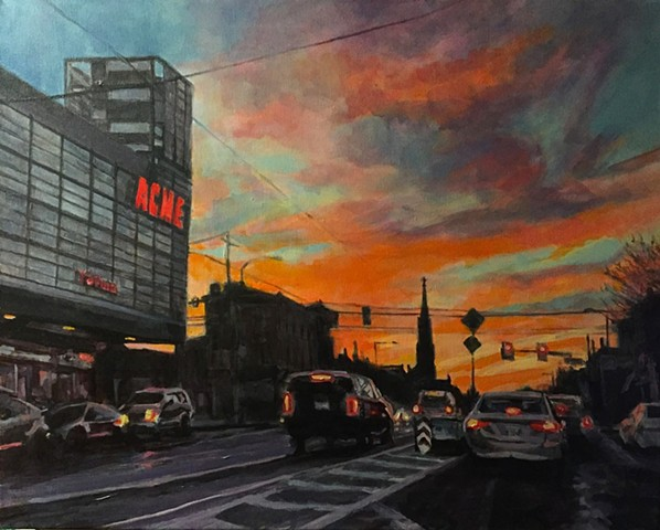 Dramatic skyline and urban sunset acrylic painting. View on Girard Avenue, Philadelphia, Pennsylvania.