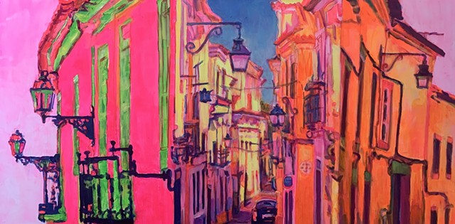 triptych, Portugal, street scenes, flourescent, impressionistic, pop