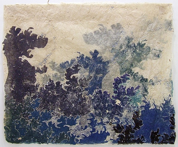 Monoprint with chad on handmade paper by Bunny Burson