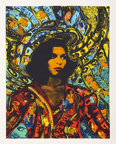 7 colour screen print of Bianca Jagger