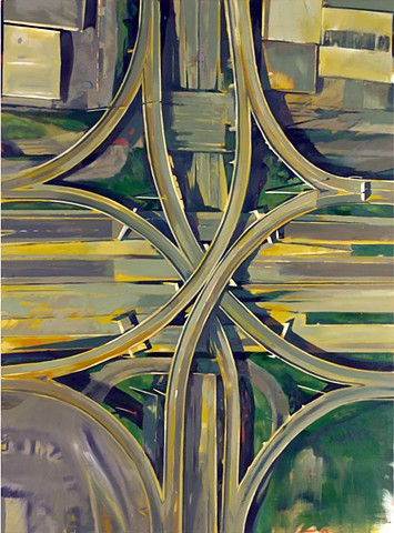 large scale, conceptual realist oil painting, aerial view of Detroit, Michigan, Contemporary Detroit landscape painting, His Hero is Gone, Dimlaia, Syndromes, Drain the Sky