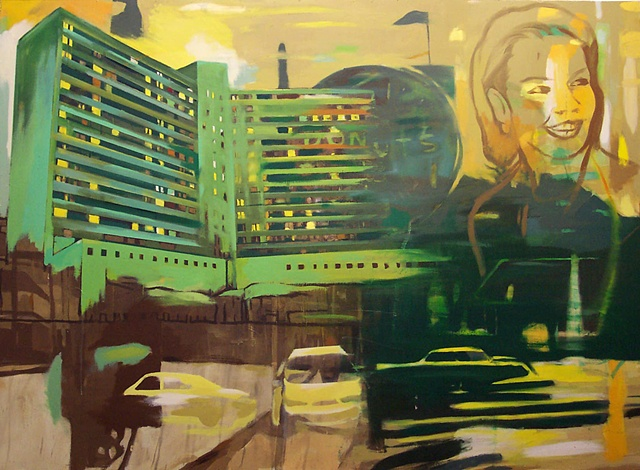 Conceptual realist oil painting of Memphis TN. Contemporary landscape painting of Baptist Hospital, Memphis TN. Punk artwork. Hardcore punk artwork