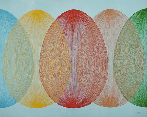Contemporary abstract oil painting using repetetive lines to form orbs.