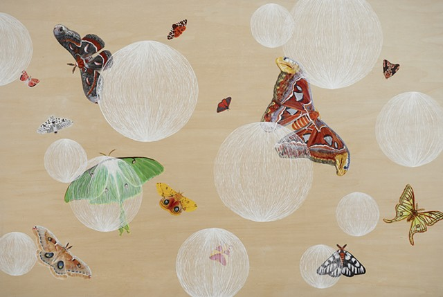 Contemporary oil painting on wood with moths and orbs.