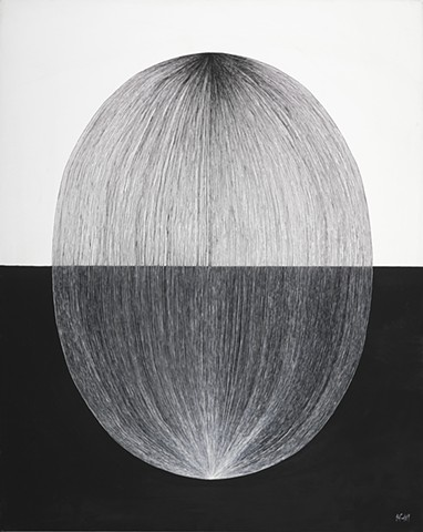 Contemporary abstract black and white oil painting using repetetive lines to form orbs.