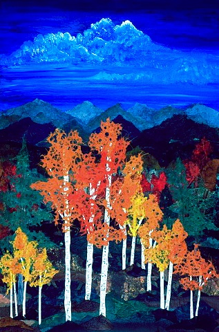 Aspens with Red Maple Giclee