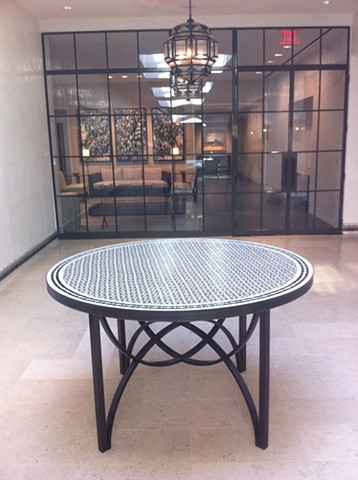 Bronze and Mosaic Entry Table