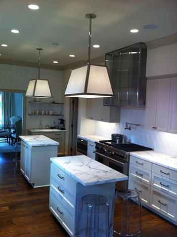 Polished Nickel and Linen Pendant Lights