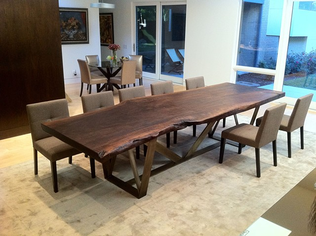 Walnut Slab Dining Table with Trellis Base