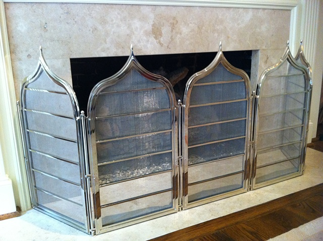 Polished Nickel Fire Screen