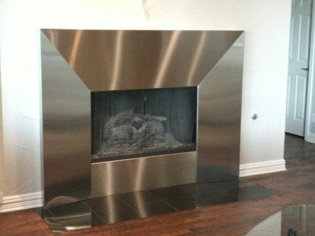 Stainless Steel Fireplace Surround, Beveled Detail