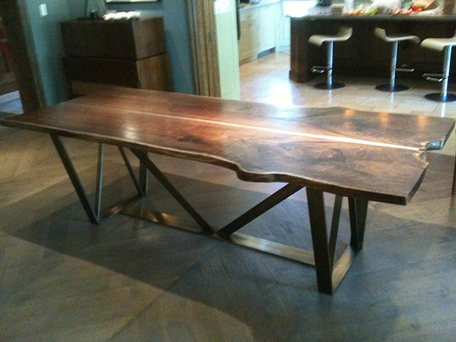 Walnut and Trellis Dining Table