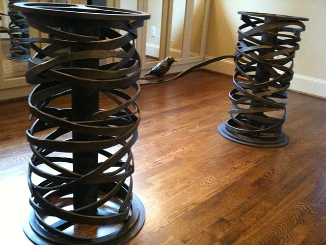 "Blackened Steel ""Bird's Nest Dining Table Base"