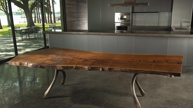 Bronze Wishbone and walnut dining table