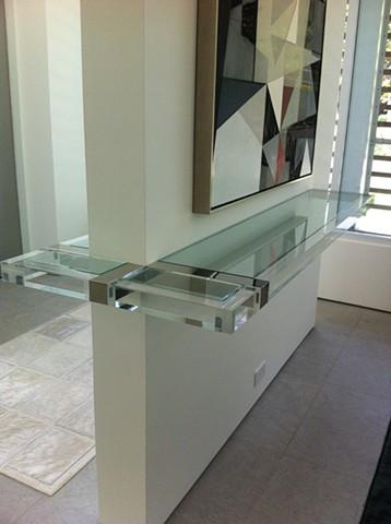 Acrylic, Polished Nickel and Glass Shelf