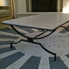Blackened Steel and Stone Coffee Table