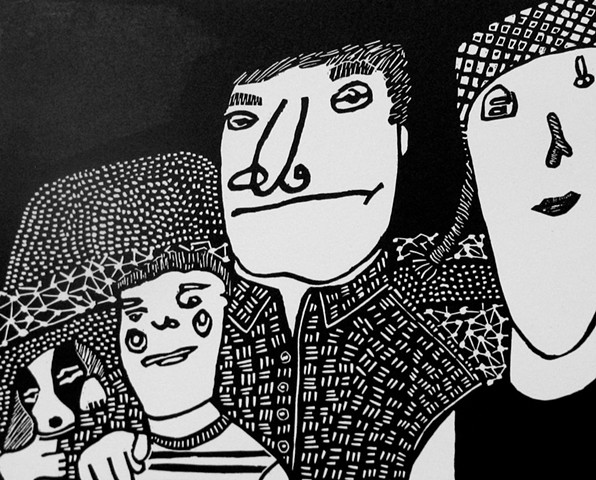 """Family in Landscape"" Linocut by Coco Berkman"