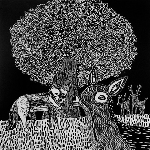 Deer and Wolf linoleum print by Coco Berkman