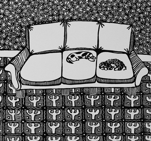 """Mickey and Lou"" linocut by Coco Berkman from ""Dogs on Sofas"" series"