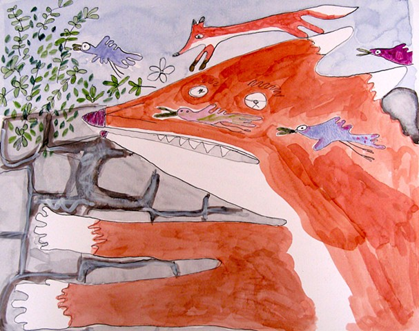 Fox and Birds Watercolor Drawing