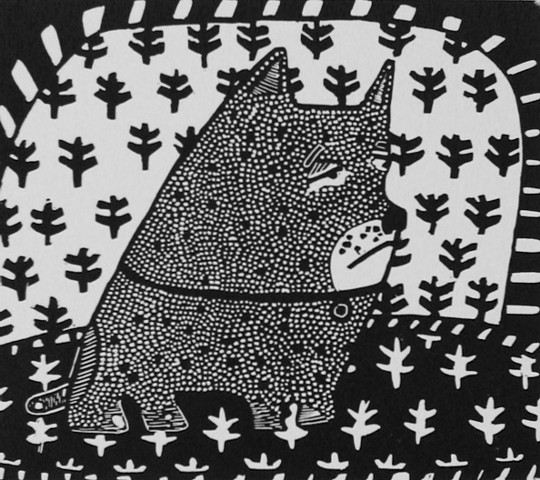 """Sister Parish"" linocut by Coco Berkman from ""Dogs on Sofas"" series"