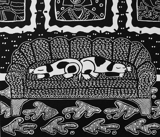 """Diptych"" linoleum print by Coco Berkman for ""Dogs on Sofas"" series"