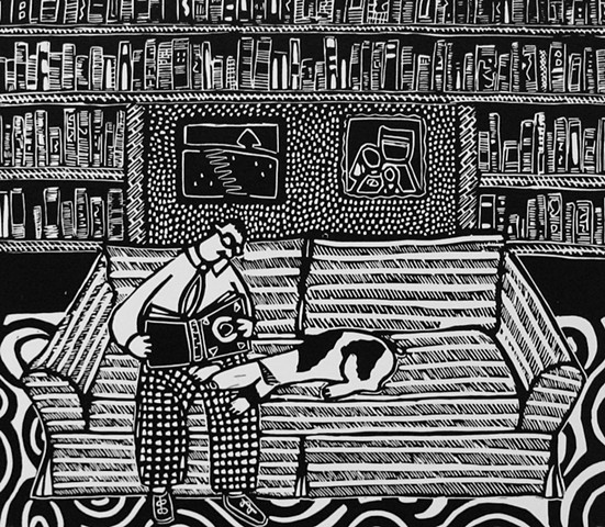 """Library"" linocut by Coco Berkman from ""Dogs on Sofas"" series"
