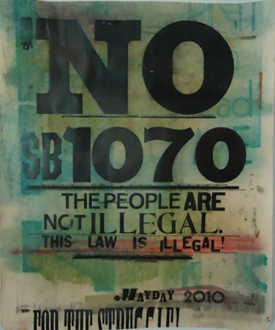 SB1070, letterpress, wood type, monica majewski, bad comrade print