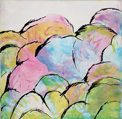 rainbow clouds, monica majewski, etching, bad comrade print, CMYK