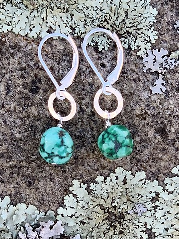 Hammered silver circle, turquoise earrings