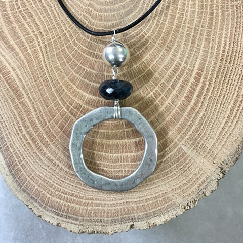 black labradorite, silver and zinc circle necklace
