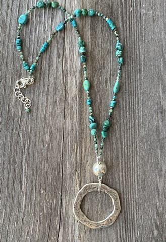 turquoise, silver and zinc necklace