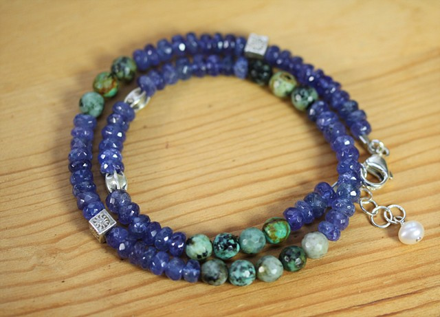 tanzanite and turquoise two strand bracelet
