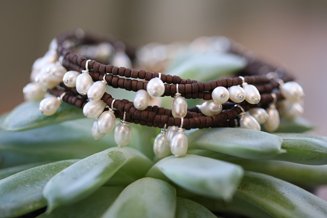 7 strand fresh water pearl and seed bead bracelet