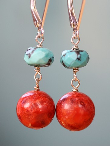sponge coral and turquoise earring