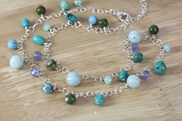 silver circle chain, tanzanite, agate, amazonite, turquoise necklace