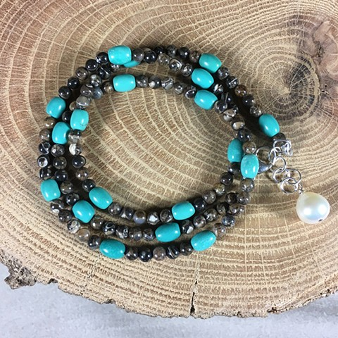 turitella agate and turquoise strand