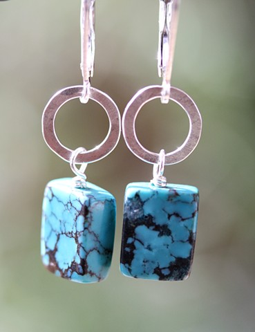 Hammered silver with turquoise earrings