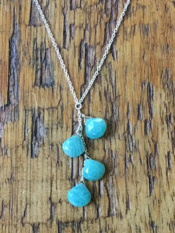 amazonite teardrop cascade necklace