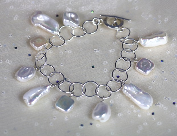 fresh water pearls and silver bracelet