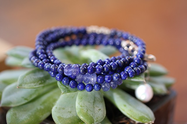 lapis and tanzanite 5-strand wrap bracelet