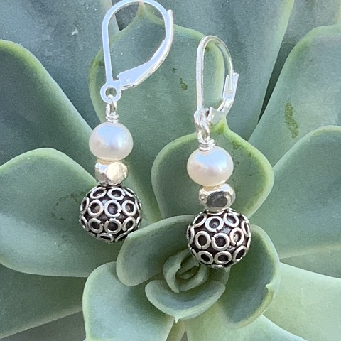 Geo silver and pearl earrings
