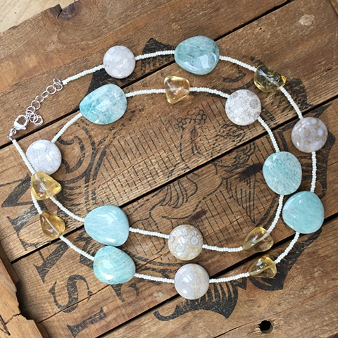 amazonite, citrine and seed bead long necklace