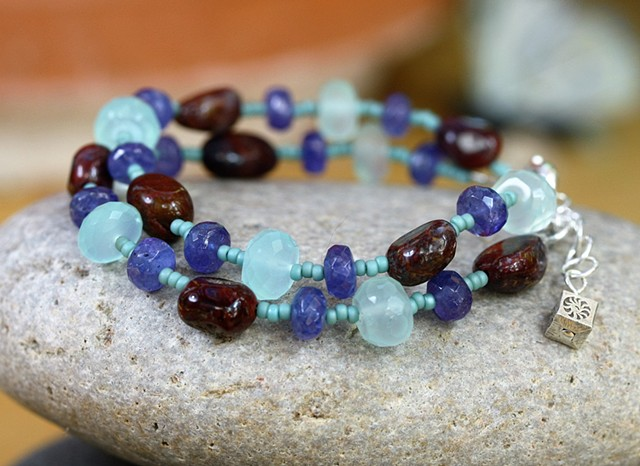Two strand bracelet with tanzanite, chalcedony