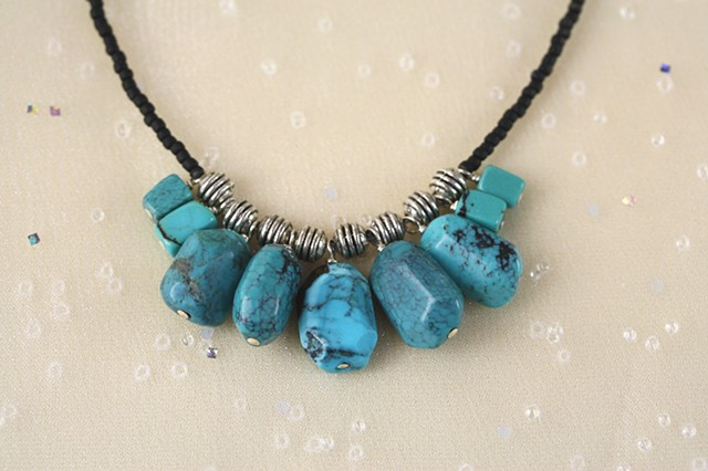 turquoise, german silver,seed bead necklace