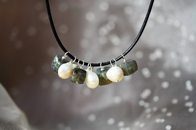 labradorite, pearl, black leather cord necklace