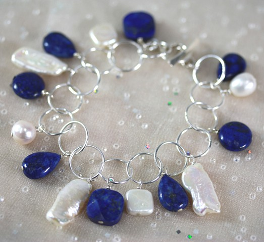 pearl and lapis charms on sterling circle chain