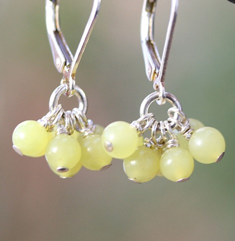 olive jade cluster earrings