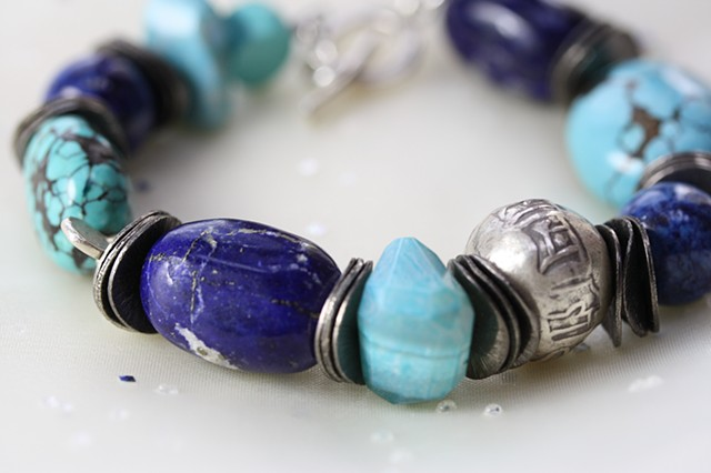 lapis, turquoise, cheladony and silver bracelet