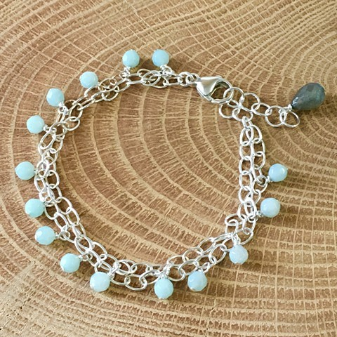 amazonite, silver oval chain two strand